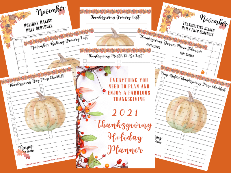 2021 Thanksgiving Holiday Planner PDF pages