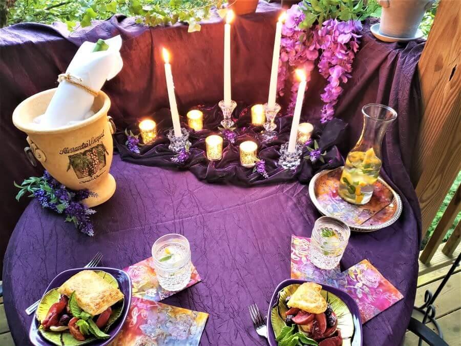 romantic al fresco dinner for two