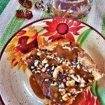 maple pumpkin coffee cake with maple caramel sauce